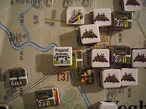 "Board wargame - Detail of a hex-and-counter wargame (""Screaming Eagles"" by Multi-Man Publishing)"