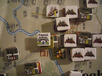 """Board wargame - Detail of a hex-and-counter wargame (""""Screaming Eagles"""" by Multi-Man Publishing)"""