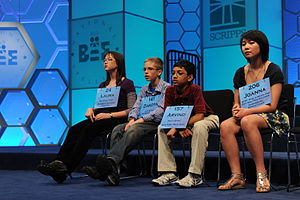 84th Scripps National Spelling Bee - From left to right: Laura Newcombe, Dakota Jones, Arvind Mahankali and Joanna Ye.