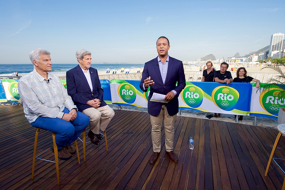 Secretary Kerry Sits With Olympic Gold Medal Swimmer Mark Spitz During An Interview With NBC%27s Craig Melvin (28772462636)