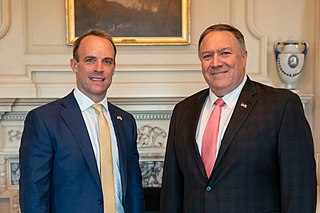 Raab (left) with U.S. Secretary of State Mike Pompeo in August 2019, his first U.S. visit as a foreign secretary