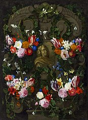 Cartouche with the bust of Nicolas Poussin in a flower garland