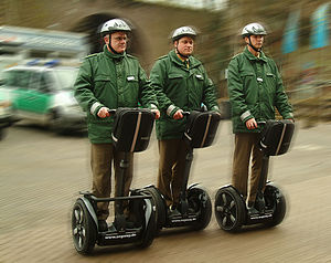 German police officers posing on Segways for p...