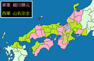 Ōnin War - Situation in 1467. Areas loyal to or allied with Hosokawa Katsumoto in pink, areas loyal to or allied with Yamana Sōzen in light green.