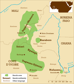 Map showing the approximate distribution of Senufo peoples and some neighbouring peoples in Mali, Côte d'Ivoire, Burkina Faso and Ghana.
