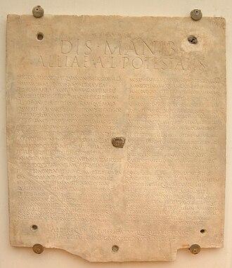 Polyandry - Sepulcral inscription for Allia Potestas, Museo Epigrafico, Terme di Diocleziano, Rome