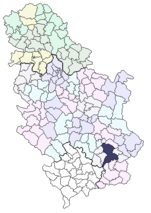 Location of Leskovac within Serbia