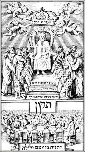 "Sabbatai Zevi - ""Sabbatai Zevi enthroned"" (image from the Amsterdam/Jewish publication Tikkun, Amsterdam, 1666)."