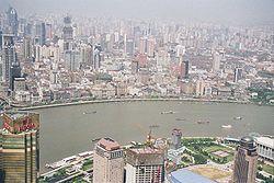 Vista del Bund desde la torre Jin Mao.