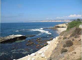 Shell Beach, La Jolla - A view looking north in La Jolla, showing Seal Rock on the left and the north end of Shell Beach in the mid-distance on the right, 2007
