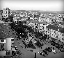 A picture of the center of Shijak, Albania in 2008.