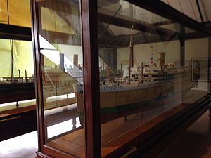 Dock Museum - Shipbuilders models of two Barrow-built ocean liners displayed in the Dock Museum