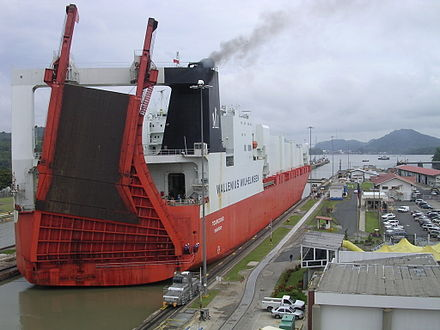 Roll-on/roll-off ships, such as this one pictured here at Miraflores locks, are among the largest ships to pass through the canal. Ship passing through Panama Canal 01.jpg