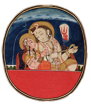 Origin of Jat people from Shiva's Locks - Painting of Shiva's locks with Parvati, from the Smithsonian Institution.