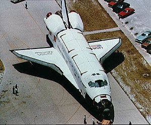 STS-8 - ''Challenger'''s rollout from the Orbiter Processing Facility (OPF) to the Vehicle Assembly Building (VAB) to be stacked for launch.