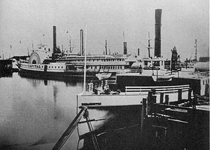 Ferries of San Francisco Bay - Contra Costa, in the foreground, was one of the earliest ferries built expressly for trans-bay service. Capital, in the background, formerly a Sacramento River steamboat, served the route from 1876 to 1896. Both were built by John Gunder North.