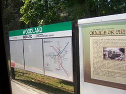 Signage at Woodland MBTA station.jpg