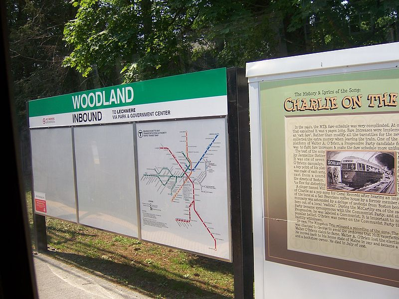 File:Signage at Woodland MBTA station.jpg