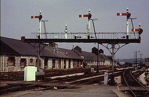 Newton Abbot railway station - One of the signal gantries removed in 1987