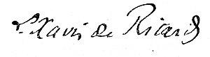 Louis-Xavier de Ricard - Signature of Louis-Xavier de Ricard