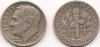 Actual silver weight - Image: Silver Roosevelt Dime