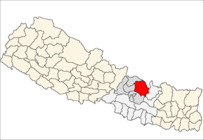Sindhupalchok District i Bagmati Zone (grå) i Central Development Region (grå + lysegrå)