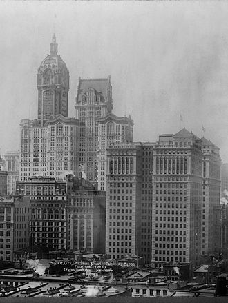 World Trade Center station (PATH) - Hudson Terminal (right) and the Singer Building (left) in 1909