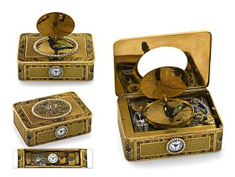 Singing bird box - Frères Rochat work with independent musical movement and center-seconds, quarter-repeating watch, ca. 1820.