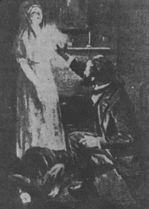 Materialization (paranormal) - A depiction of Sir William Crookes confronting the alleged spirit materialization of Katie King