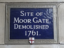 Site of moor gate (city of london)