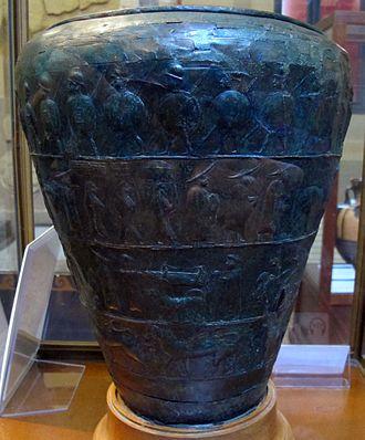Situla - Etruscan situla, 600–550 BC, tomb 68 at the Certosa necropolis