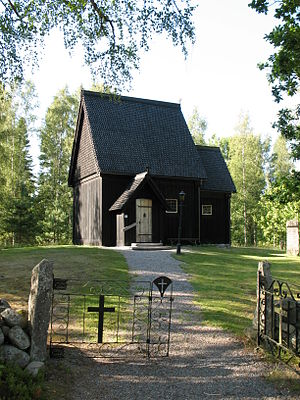 Skaga stave church - The reconstructed stave church in 2008.