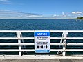 Social distancing notice at Shorncliffe Pier, Queensland, 2020 during COVID-19 pandemic in Australia.jpg