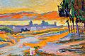 Soleil couchant sur la ville (étude) by Paul Signac, 1892, Huile sur bois.jpg