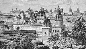"Balatkara Gana - The sacred temple city at Sonagir, a major center of Bhattarakas of Balatkara Gana. From ""India and Its Native Princes"" By Louis Rousselet, Charles Randolph Buckle London : Chapman and Hall, 1875"