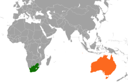 Map indicating locations of South Africa and Australia