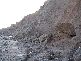 Hornsea - Eroded cliff at South Cliff, Hornsea
