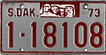 South Dakota 1973 license plate - Number 1-18108.jpg