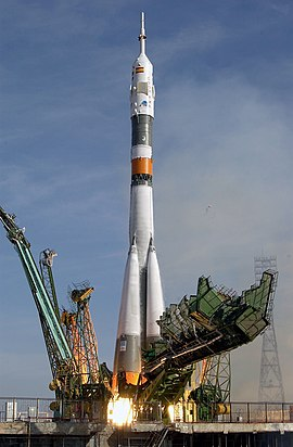 The Soyuz TMA-3 vehicle launches from the Baikonur Cosmodrome