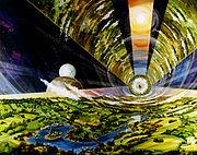 Un habitat O'Neill ressemblant au cylindre du roman Rendez-vous avec Rama