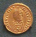 Spanish Visigothic gold tremisses in the name of emperor Justinian I with cross on breast 7th century.jpg