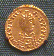 Spanish Visigothic gold tremisses in the name of emperor Justinian I with cross on breast 7th century