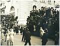 Spectators of the Australian Sesquicentenary parade stand on trams for a better view, George Street, Sydney, 26 January 1938 - photographer Donald Charles Boulton Maclurcan (6463245837).jpg