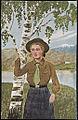 Speiderjente ved bjørk Girl scout by birch tree.jpg
