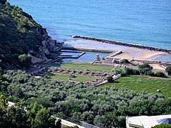 Remnants of Tiberius' villa at Sperlonga, a Roman resort midway between Rome and Naples.