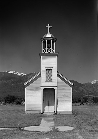 "Roman Catholic (term) - Saint Mary's ""Roman Catholic Mission"", built in 1866 in Stevensville, Montana"