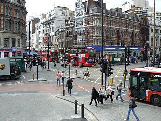 St Giles Circus square in London, United Kingdom