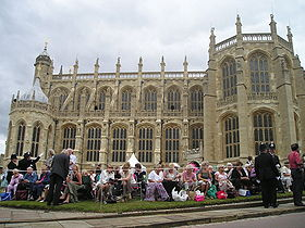 Members of the public outside St George's Chapel at Windsor Castle, waiting to watch the Garter Procession