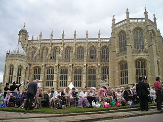 St George's Chapel, Windsor Castle - Members of the public outside St George's Chapel at Windsor Castle, waiting for the Garter Procession
