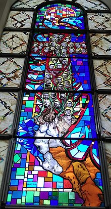 Stained glass depiction of Martyrs of Albania at the Cathedral of Saint Mother Teresa in Prishtina.jpg